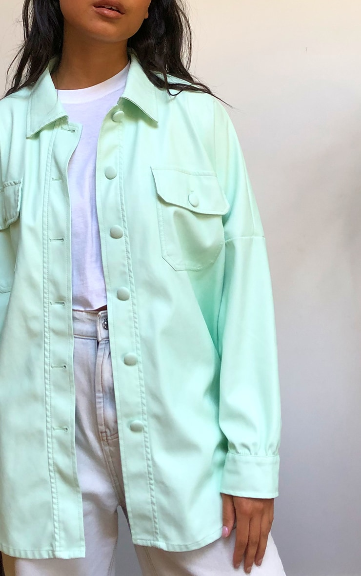 Mint Pu Long Line Dipped Hem Belted Shacket 4