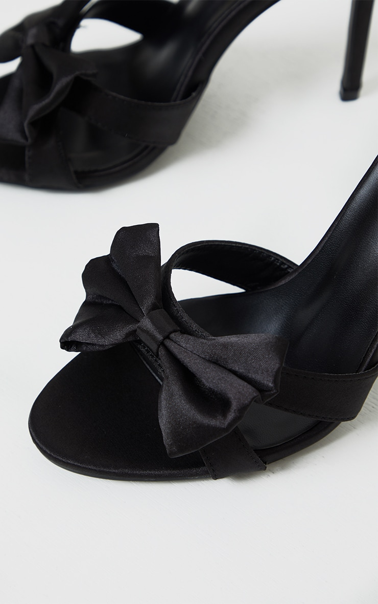 Black Satin Bow Front Heeled Mules 4