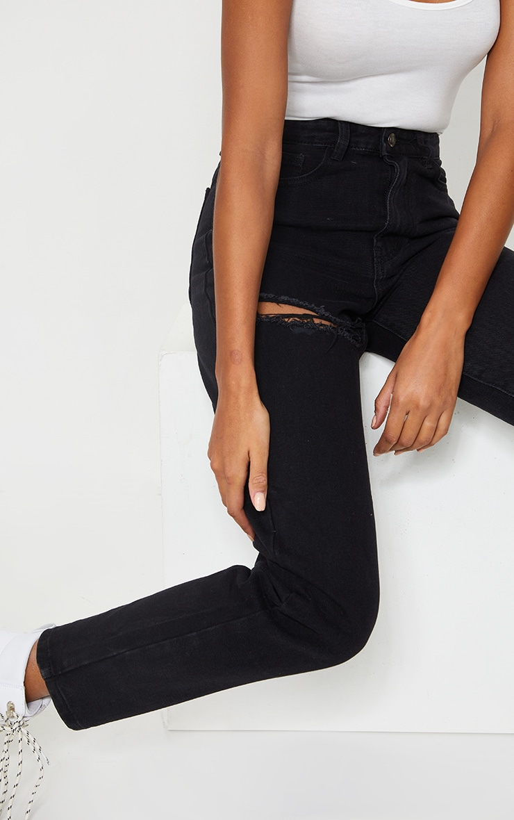 PRETTYLITTLETHING Washed Black Thigh Ripped Mom Jeans 4