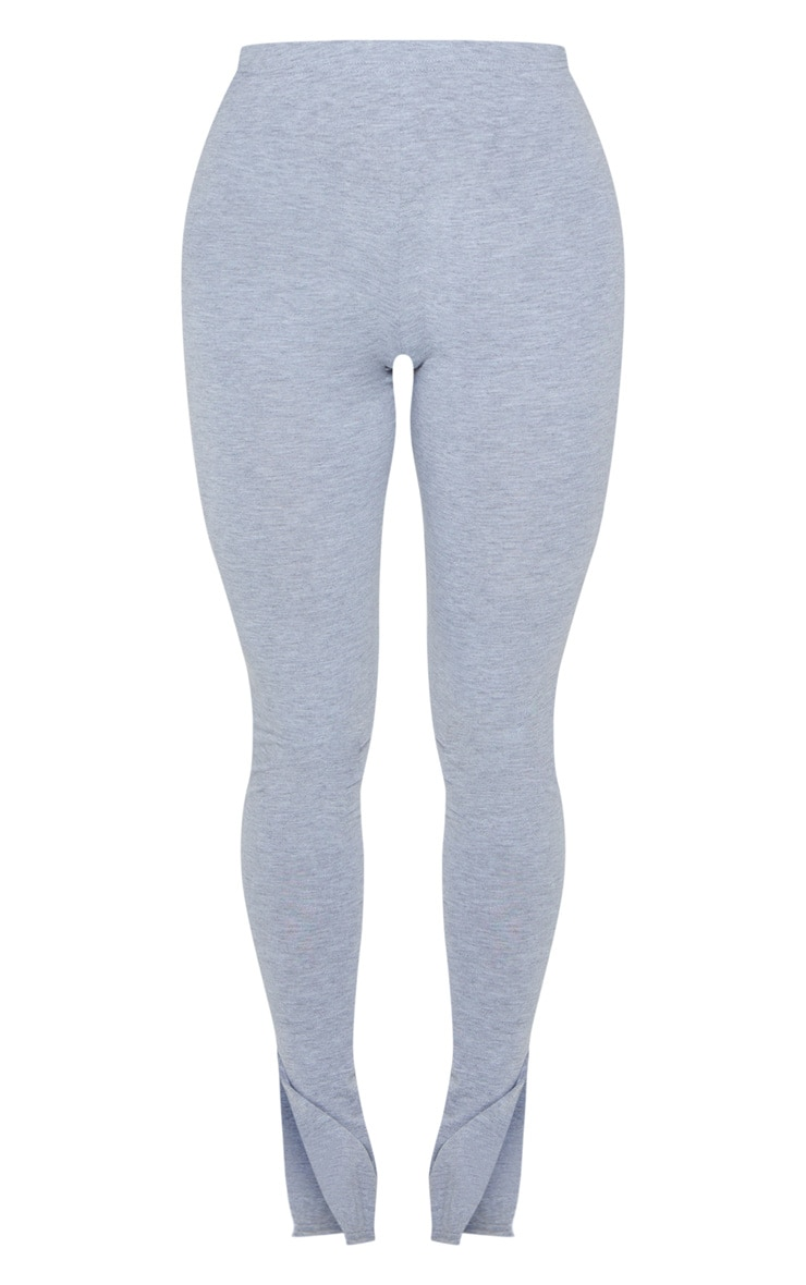 Grey Marl Basic Jersey Split Hem Leggings 5