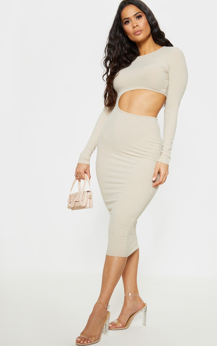 Stone Ribbed Cut Out Long Sleeve Midi Dress 4