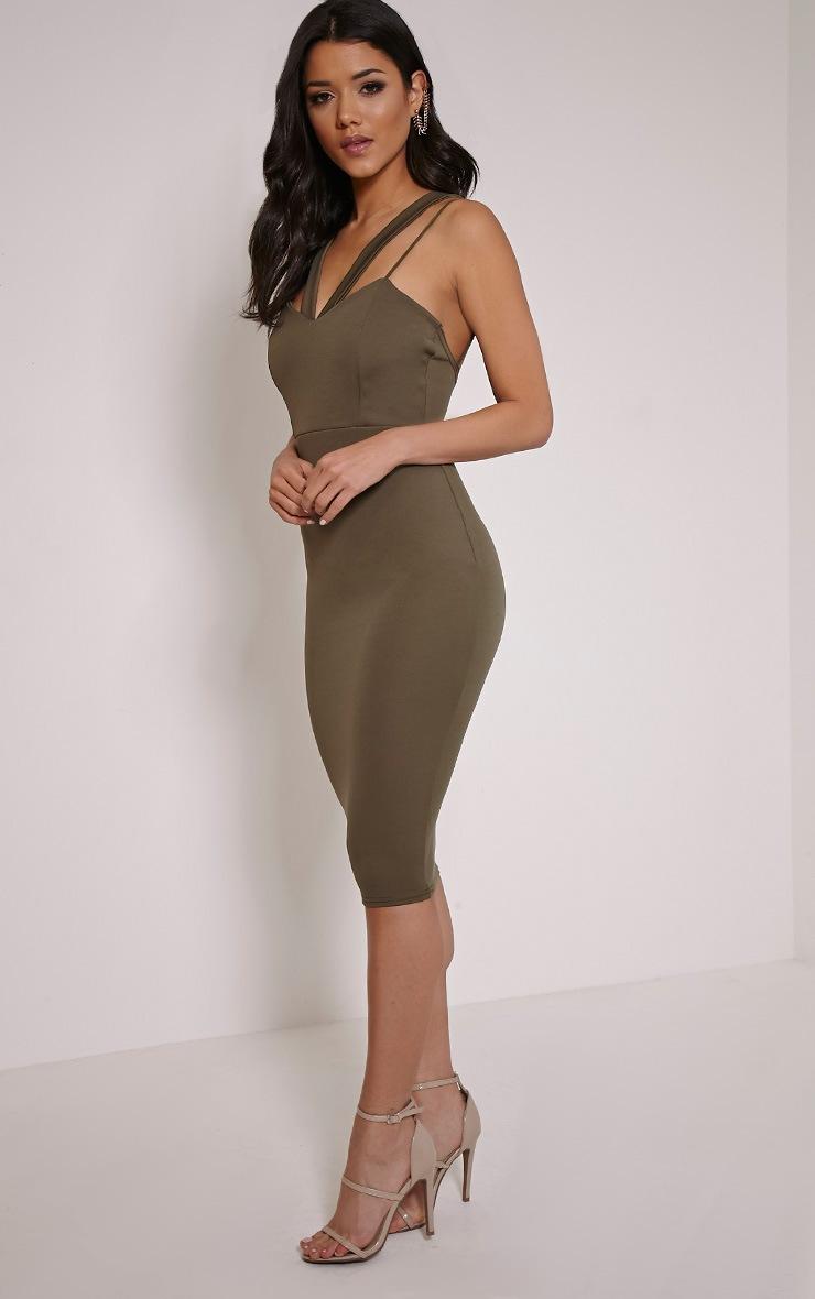 Anthea Khaki Double Strap Scuba Dress 3