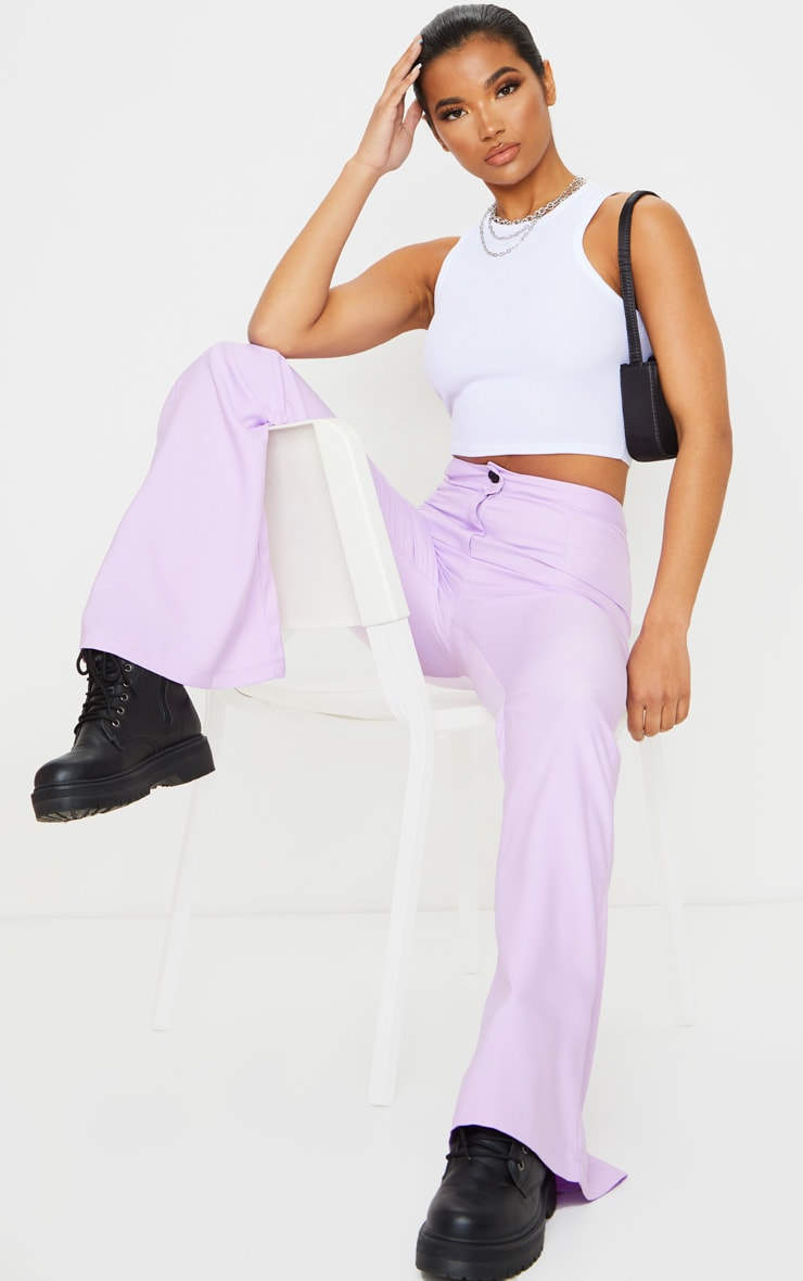 Plain Lilac Flared Pants 1