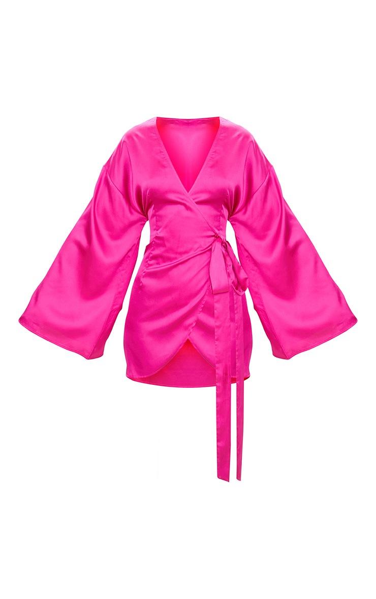 Fuchsia Wrap Long Kimono Sleeve Dress  4