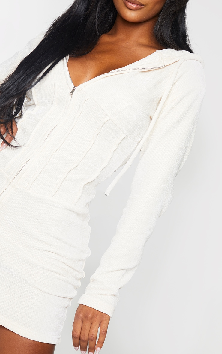 Shape Cream Rib Velour Corset Detail Hooded Bodycon Dress 4