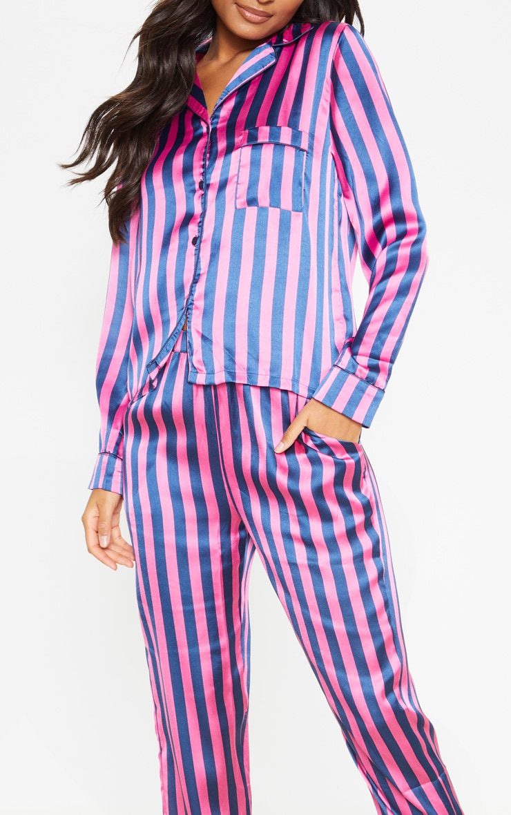 Navy And Pink Stripe Long Satin PJ Set 5