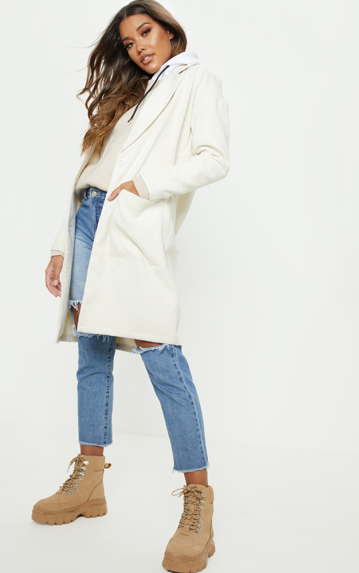 Cream Midi Coat  by Prettylittlething