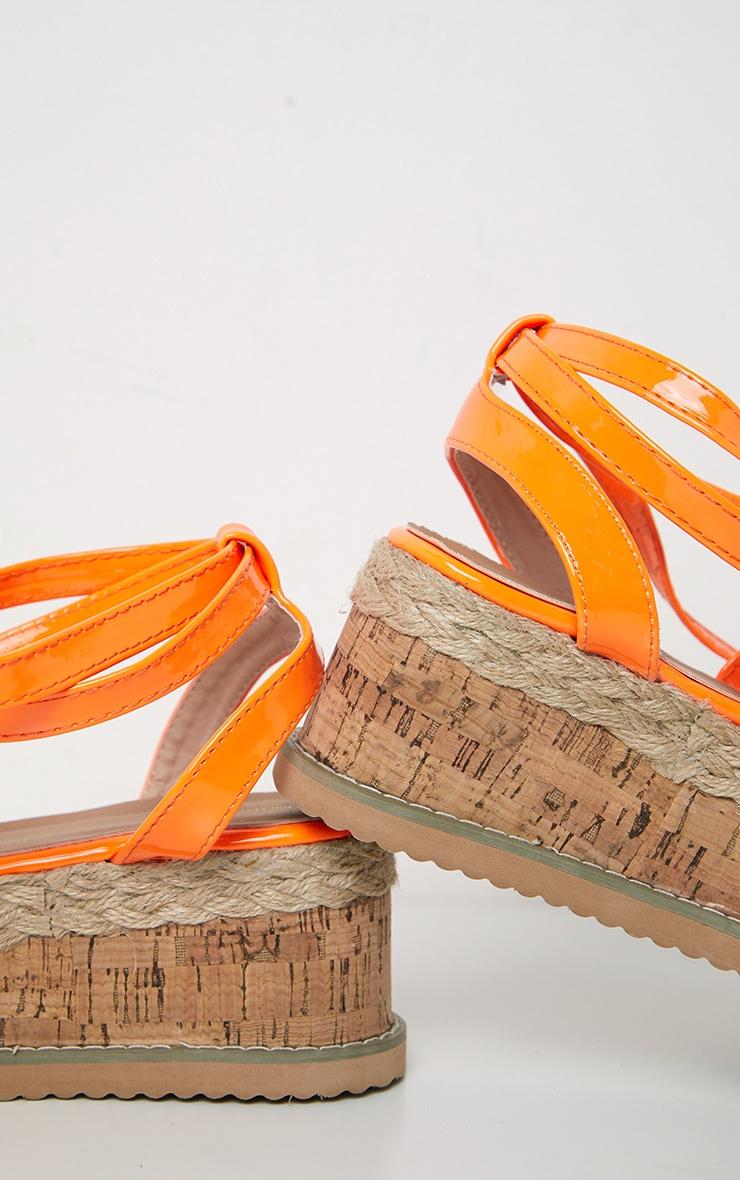 Orange Neon Flatform Espadrille Sandal 4