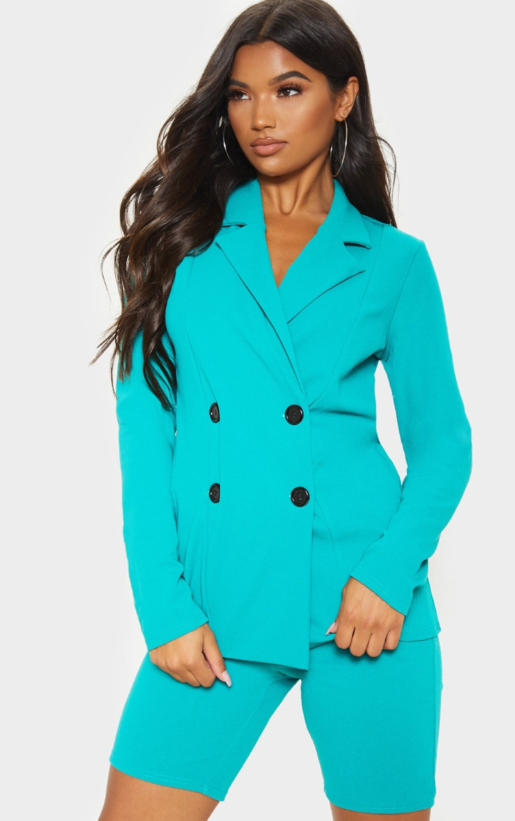 Teal Double Breasted Button Suit Jacket  1