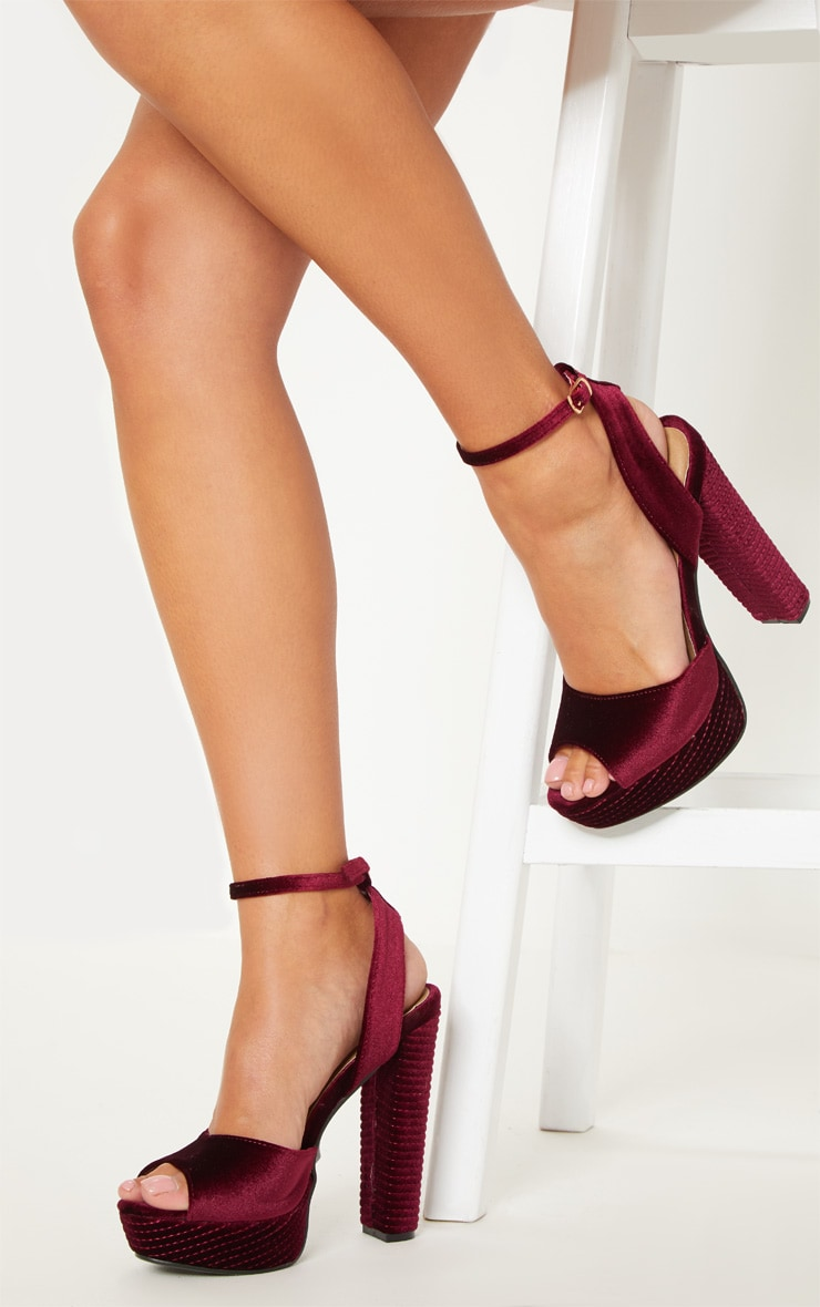 modern and elegant in fashion huge selection of best choice Burgundy Velvet High Platform Heel
