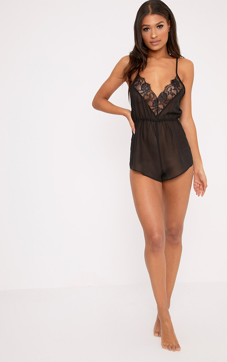 Pyjashort en mousseline de soie noir 4