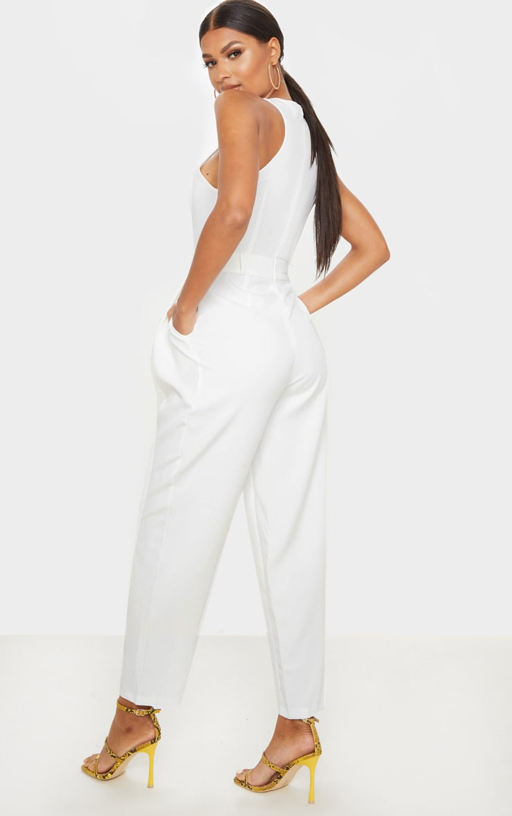 White Racer Back Pocket Detail Jumpsuit 2