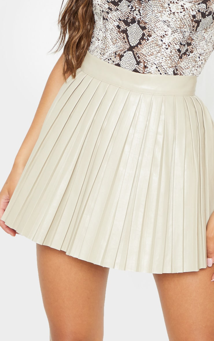 Stone Faux Leather Pleated Skater Skirt 6