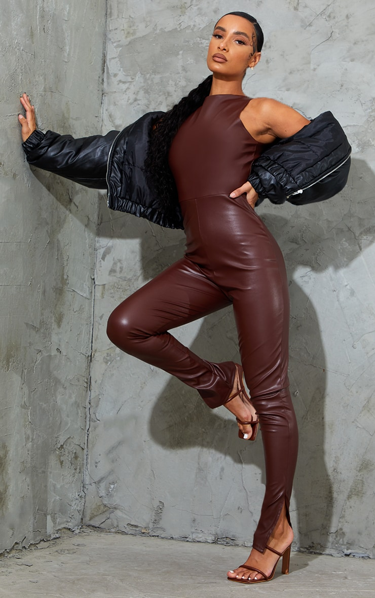 Chocolate PU Racer Neck Split Hem Jumpsuit 3