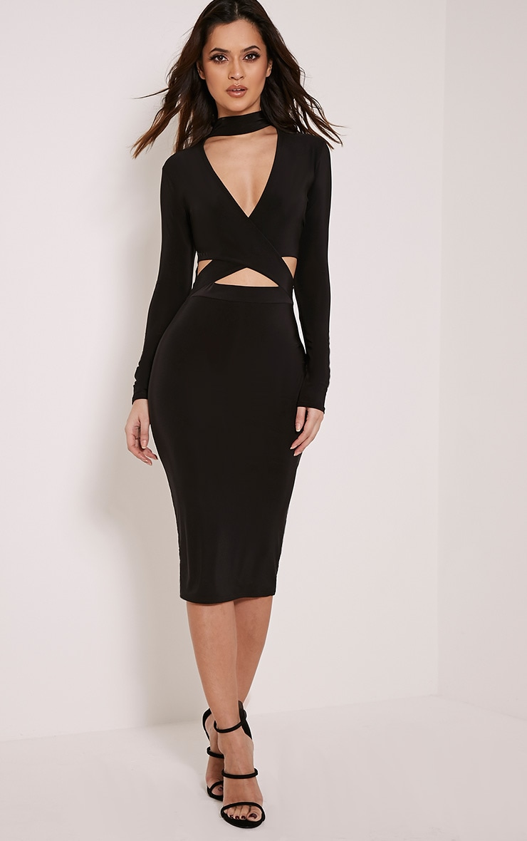 Nadeena Black Neck Detail Cut Out Midi Dress 1