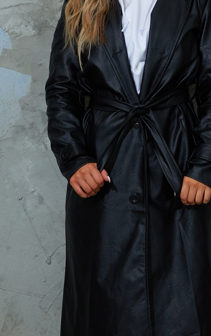 Black Faux Leather Belted Trench 4