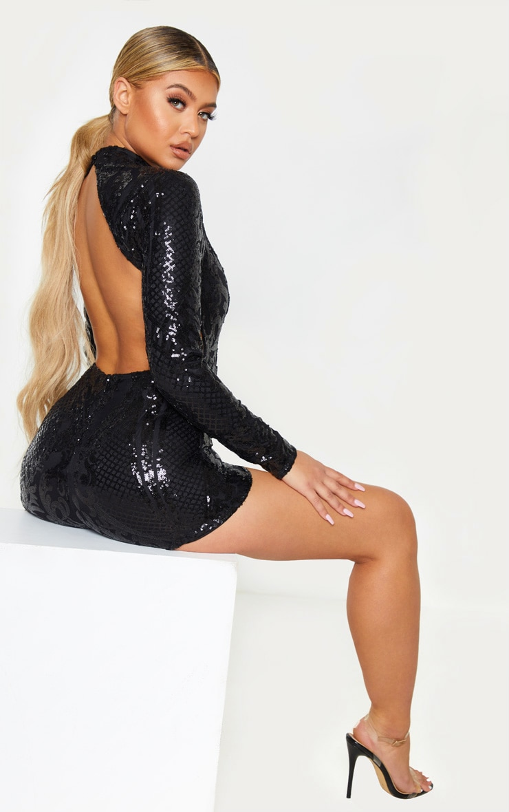 black-patterned-sequin-backless-playsuit by prettylittlething