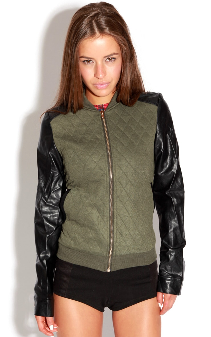 Cala Green Quilted Jacket With PU Sleeves 3