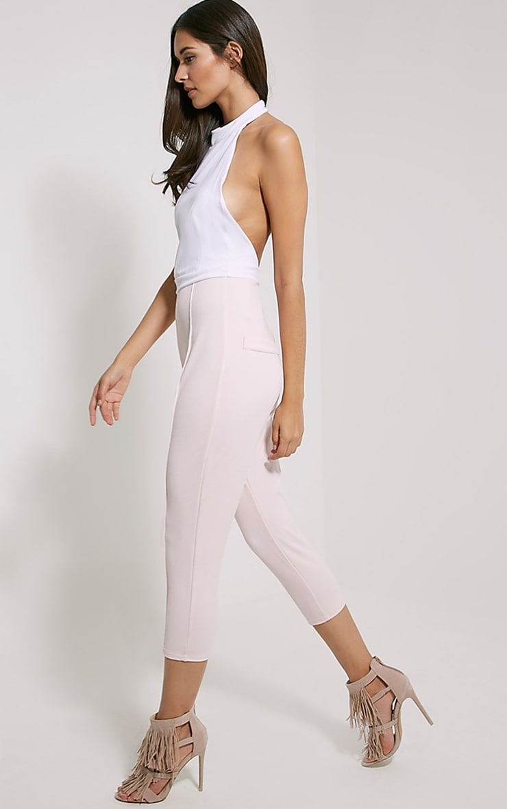 Nicki Two Tone Cream and Pink Backless Jumpsuit 3