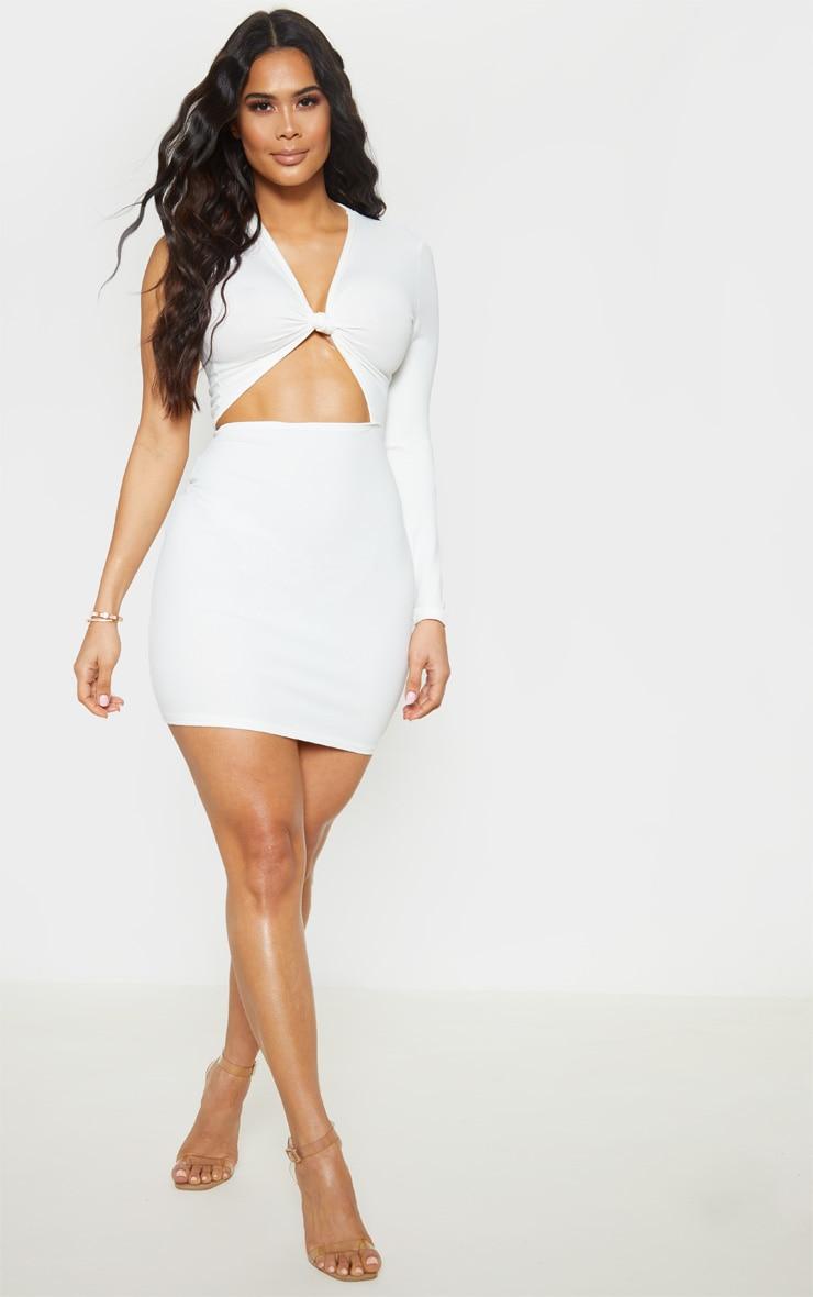 White Asymmetric Knot Detail Cut Out Bodycon Dress 4