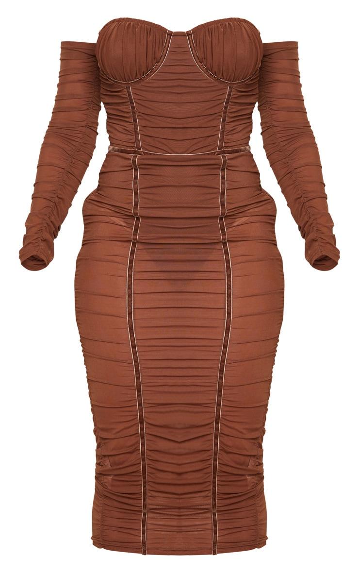 Chocolate Mesh Ruched Velvet Binded Bardot Midi Dress 5