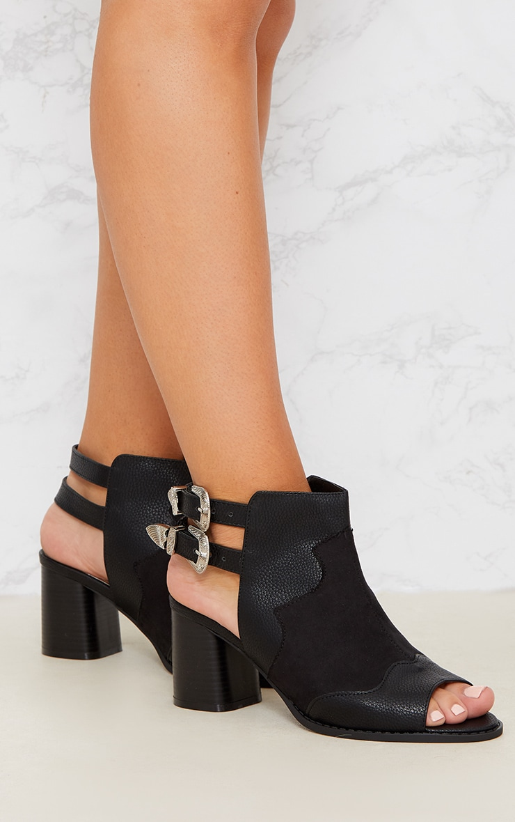 Black Western Buckle Cut Out Block Heel Ankle Boot 5