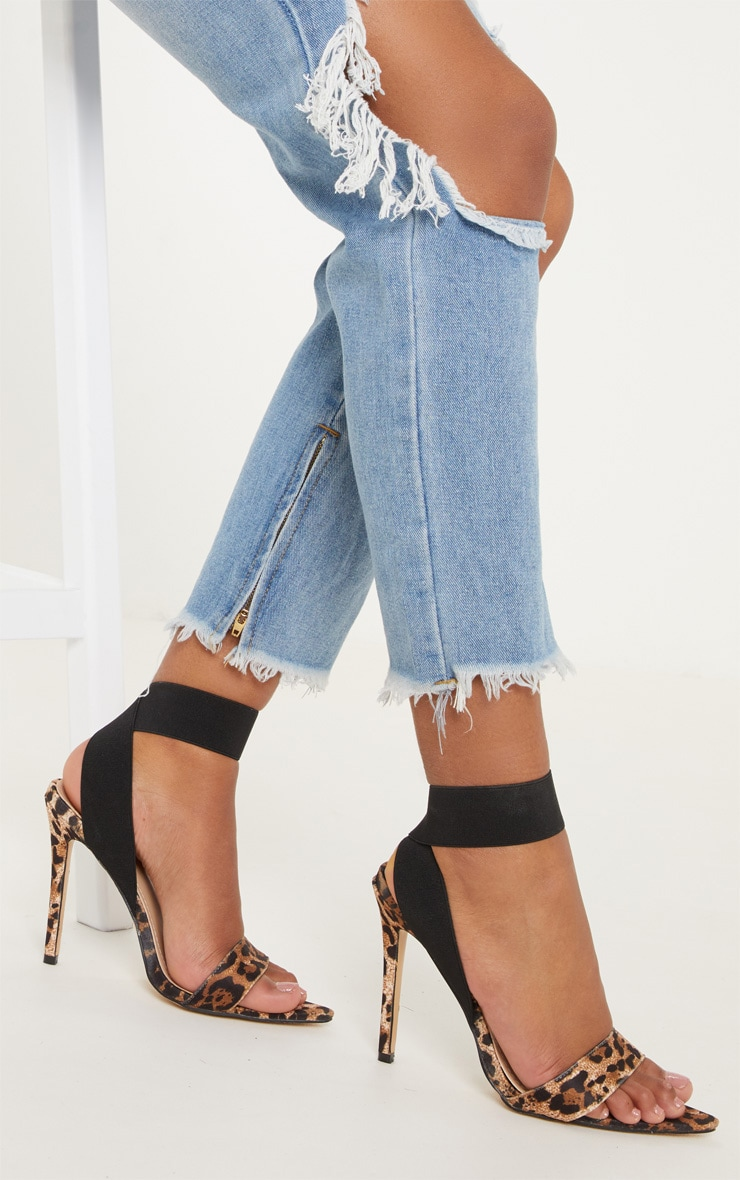 Leopard Elastic Point Toe Strappy Sandal 1