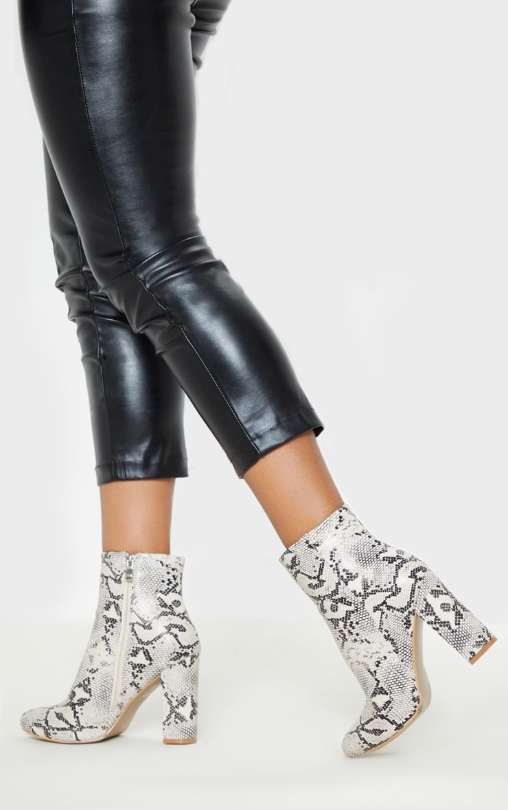 Snake Wide Fit Behati Block Heeled Ankle Boot 2