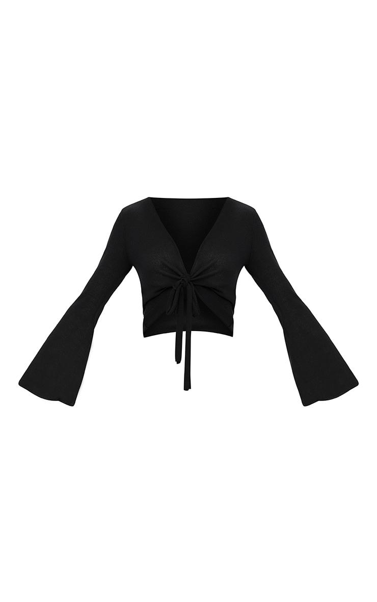 Black Lightweight Knit Tie Front Longsleeve Top 3