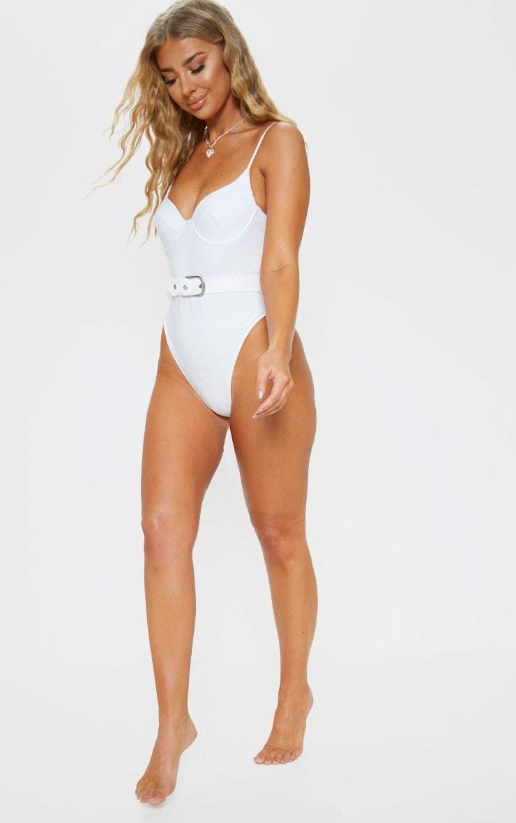 White Belted Cupped Swimsuit 5