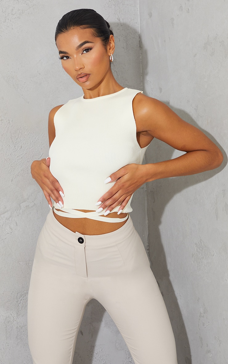 Cream Tie Waist Knitted Cropped Top 1