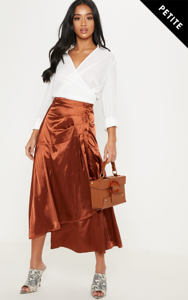 Petite Chocolate Brown Satin Midi Skirt   PrettyLittleThing IE ede6a9f128