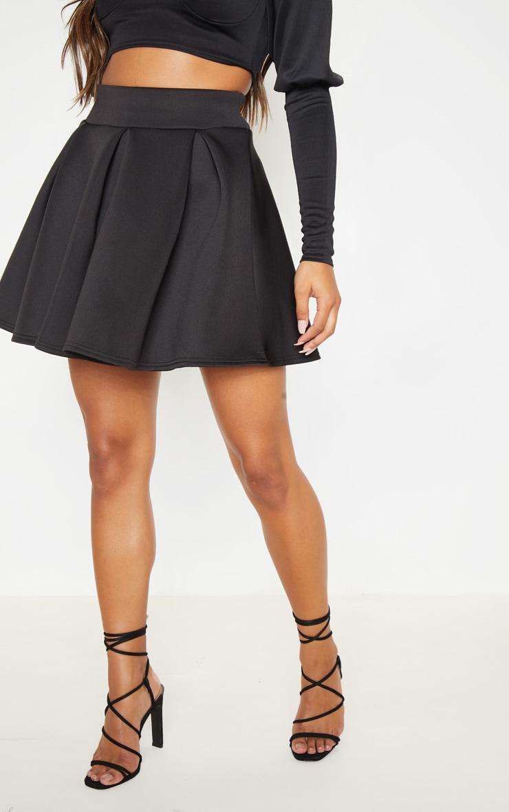 Black Scuba Skater Mini Skirt 2