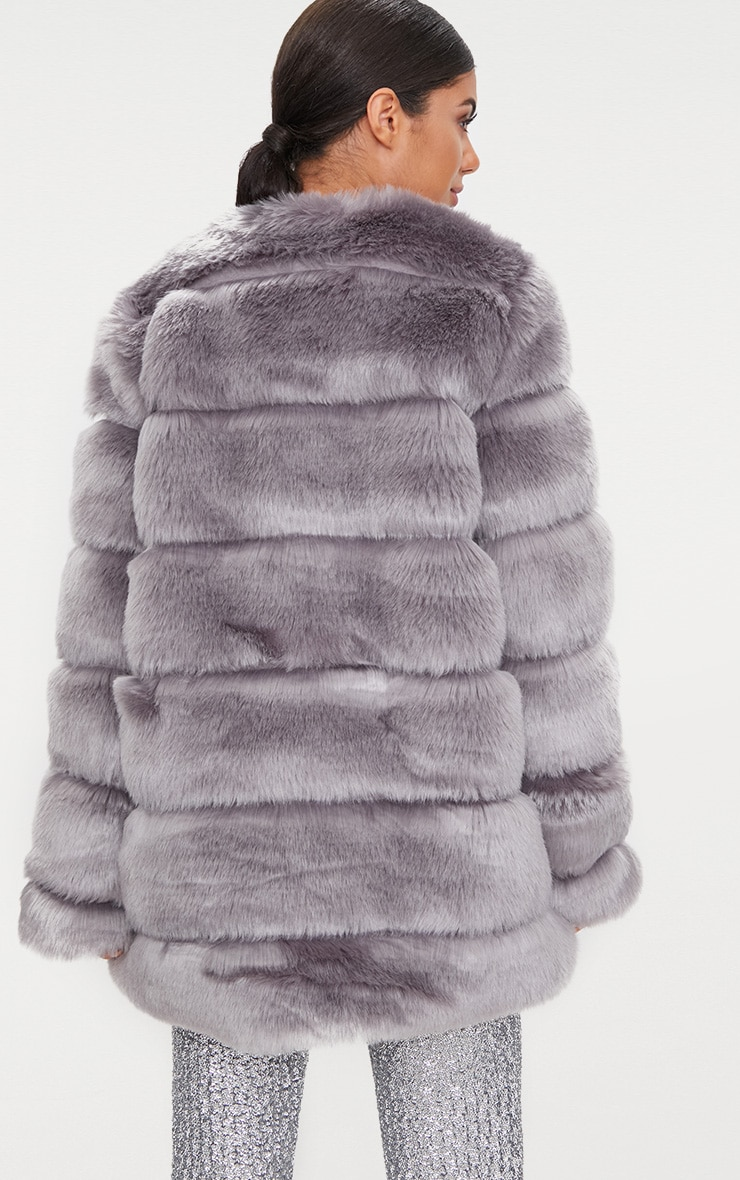 Grey Faux Fur Bubble Coat 2