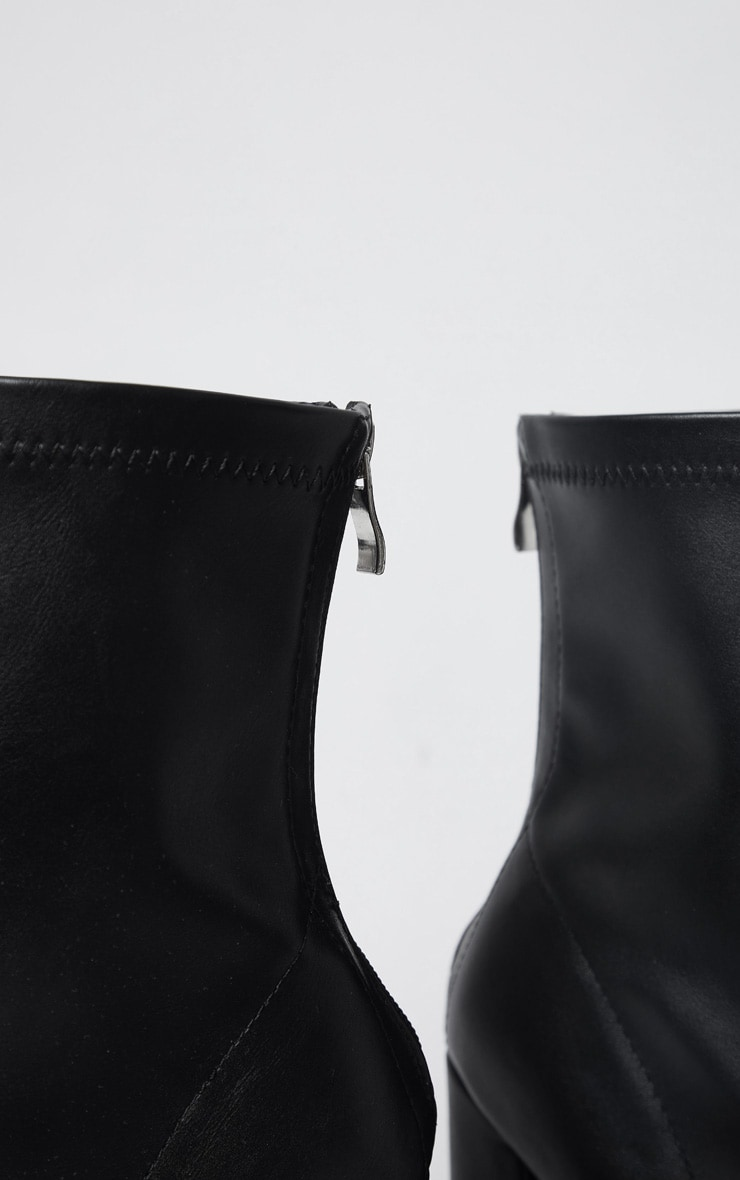 Black Wide Fit High Point Block Heel Ankle Boots 4
