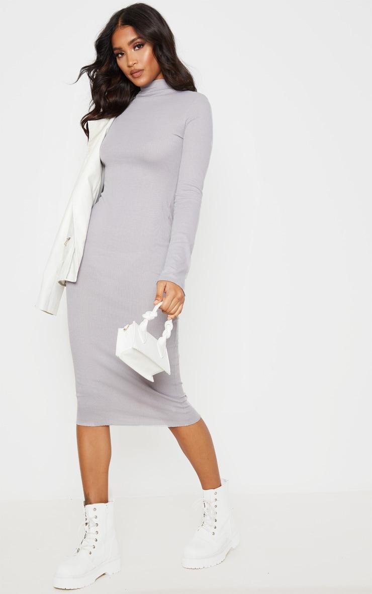 Charcoal Grey High Neck Thumb Hole Midi Dress 4