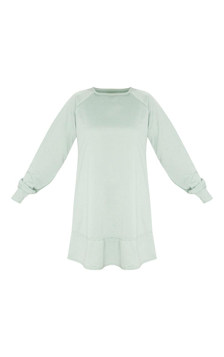 Sage Green Oversized Sweat Jumper Dress 5