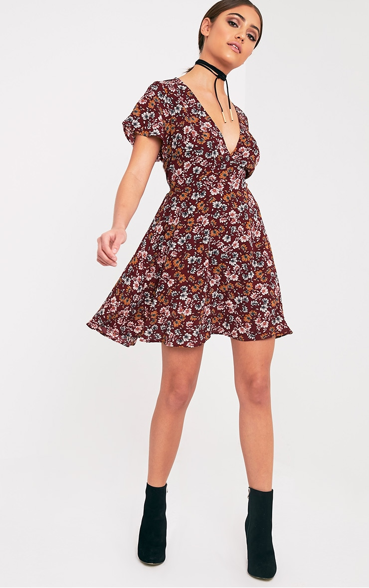 Josey Burgundy Floral Wrap Over Swing Dress 4