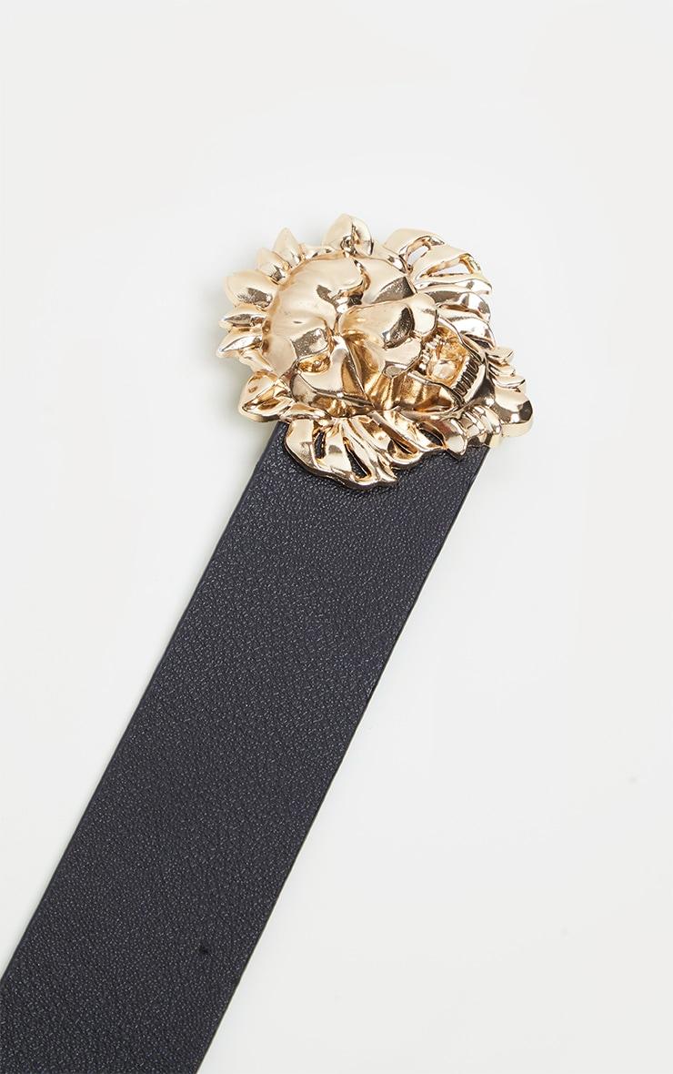 Plus Black Lion Trim Faux Leather Belt 2