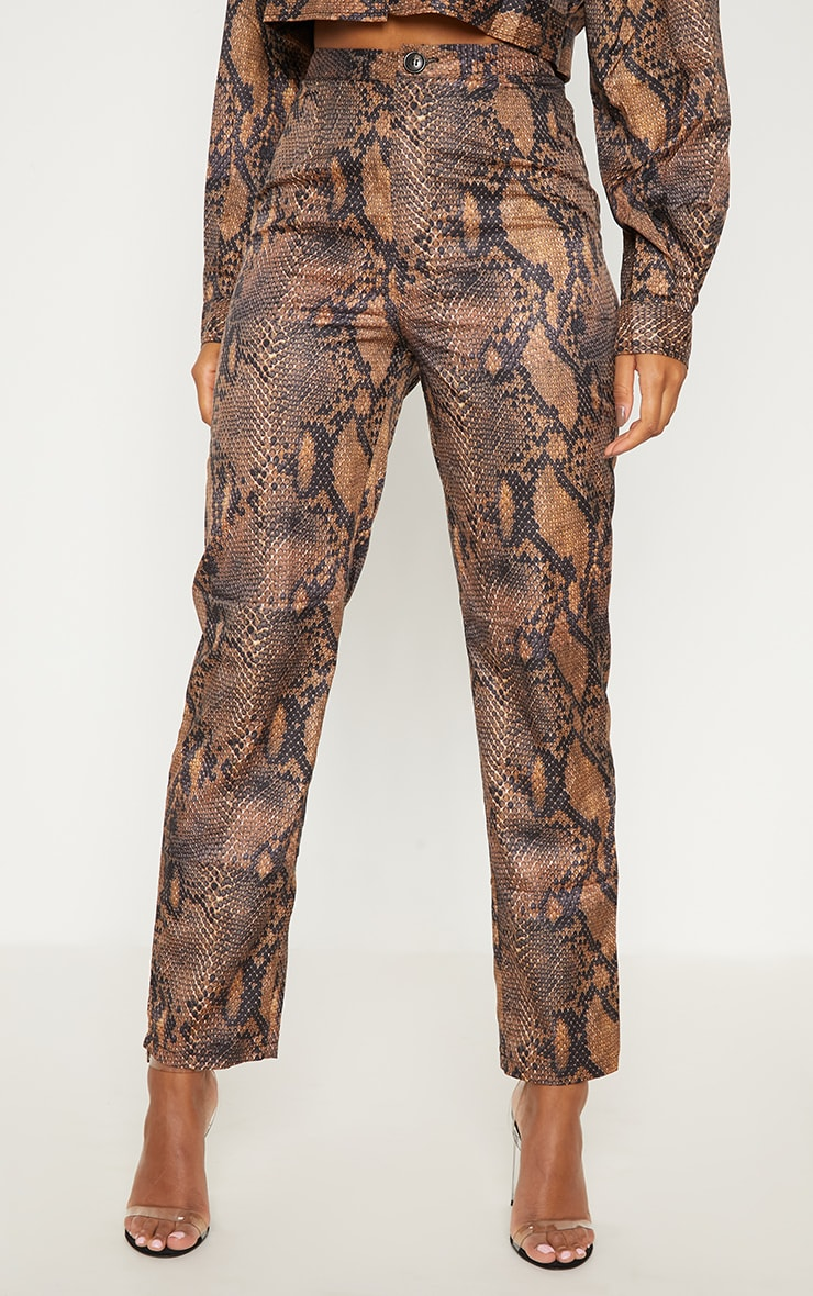Brown Snake Print Straight Leg Pants 2