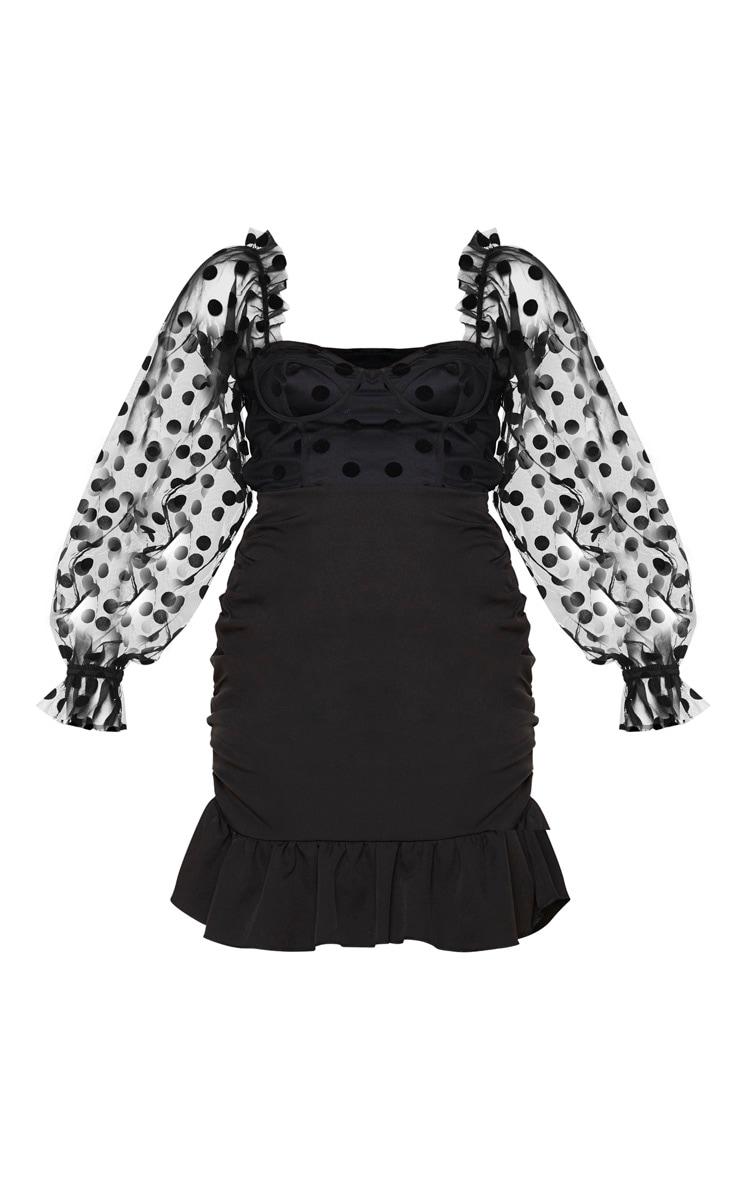 Black Polka Dot Mesh Cup Detail Ruched Dress 5