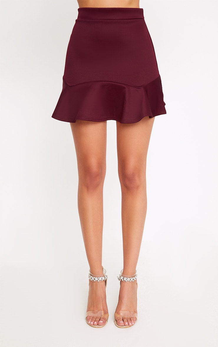 Burgundy Flippy Hem Mini Skirt 2