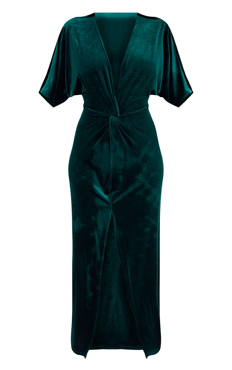 Emerald Green Velvet Kimono Sleeve Maxi Dress 3