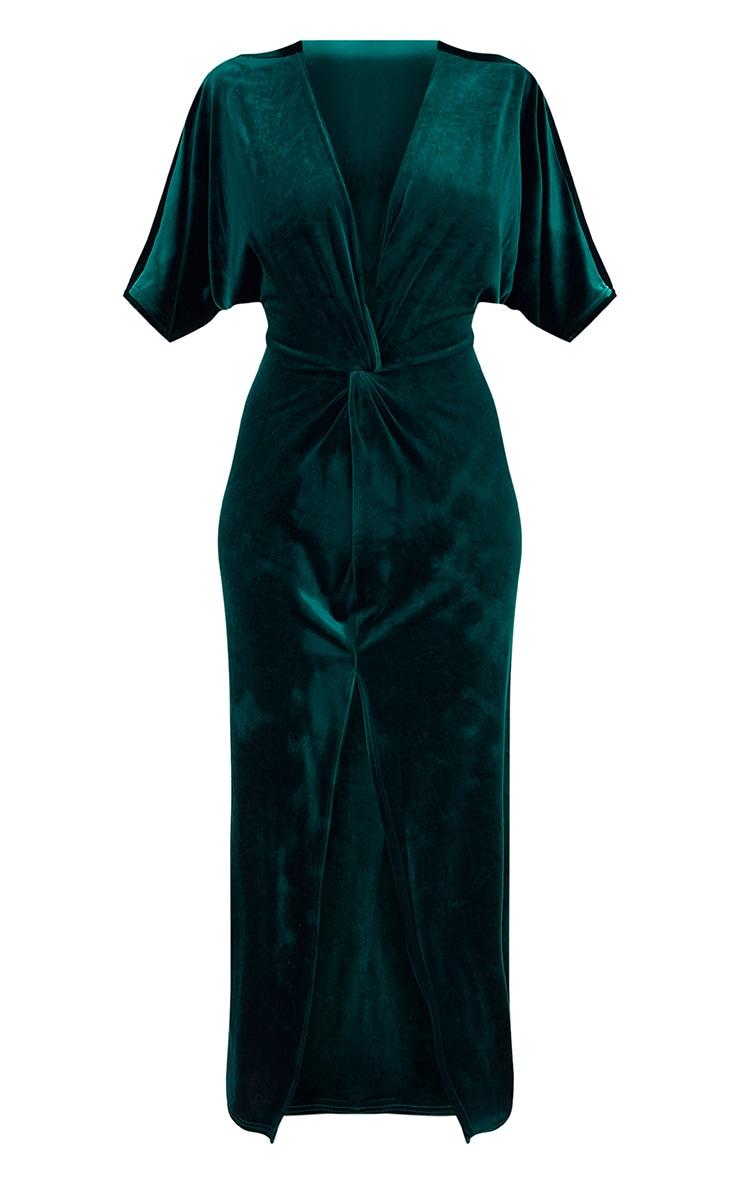 Robe maxi manches kimono en velours vert émeraude 3