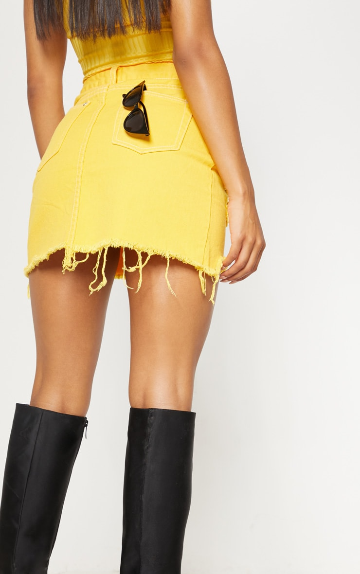 Yellow Contrast Stitch Denim Skirt 6