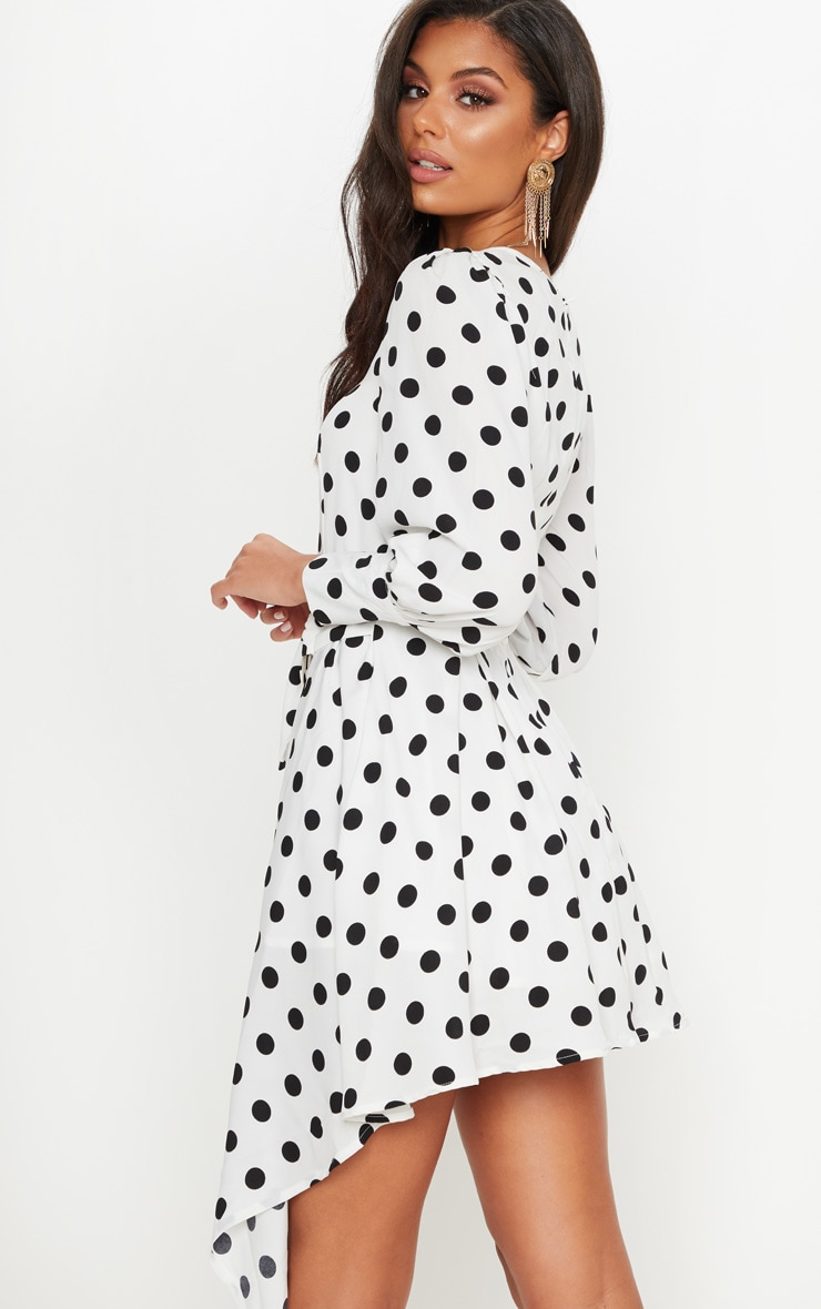 White Polka Dot Balloon Sleeve Belted Asymmetric Skater Dress 2