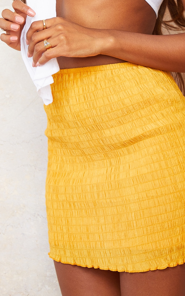 Bright Orange Shirred Textured Mini Skirt 5