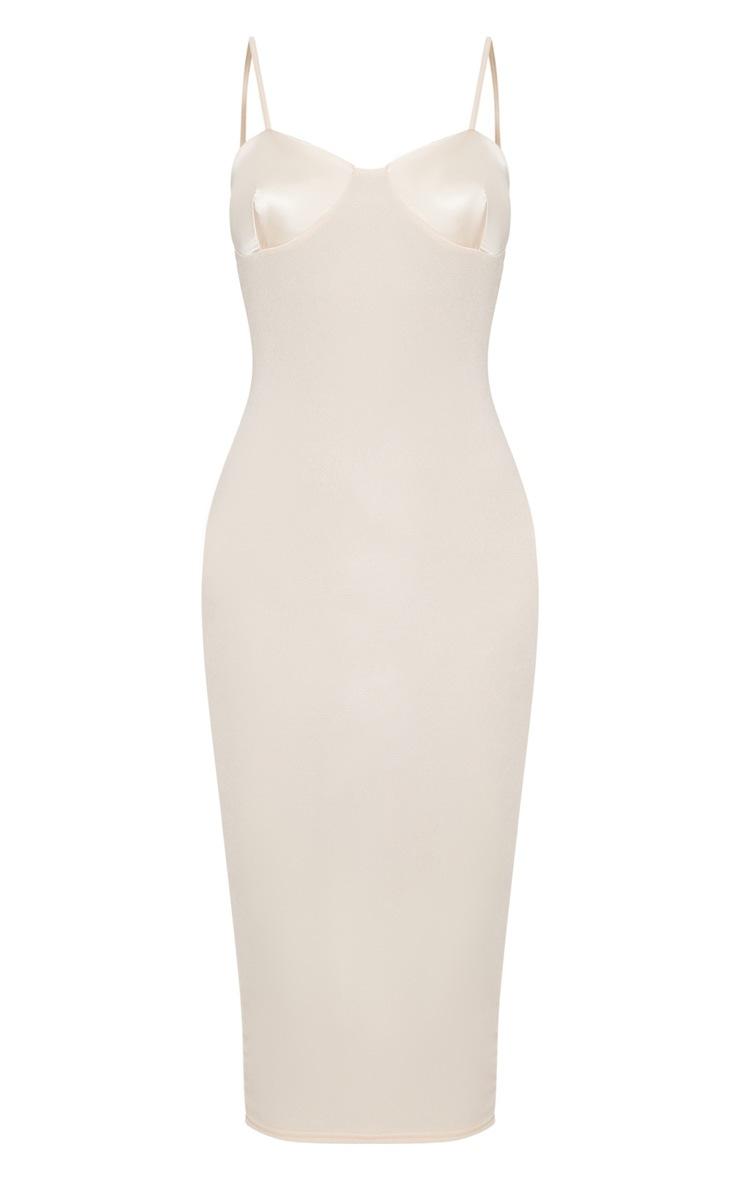 Cream Satin Cup Detail Midi Dress 3