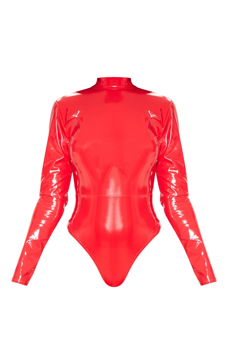 Red Vinyl High Neck Bodysuit 3