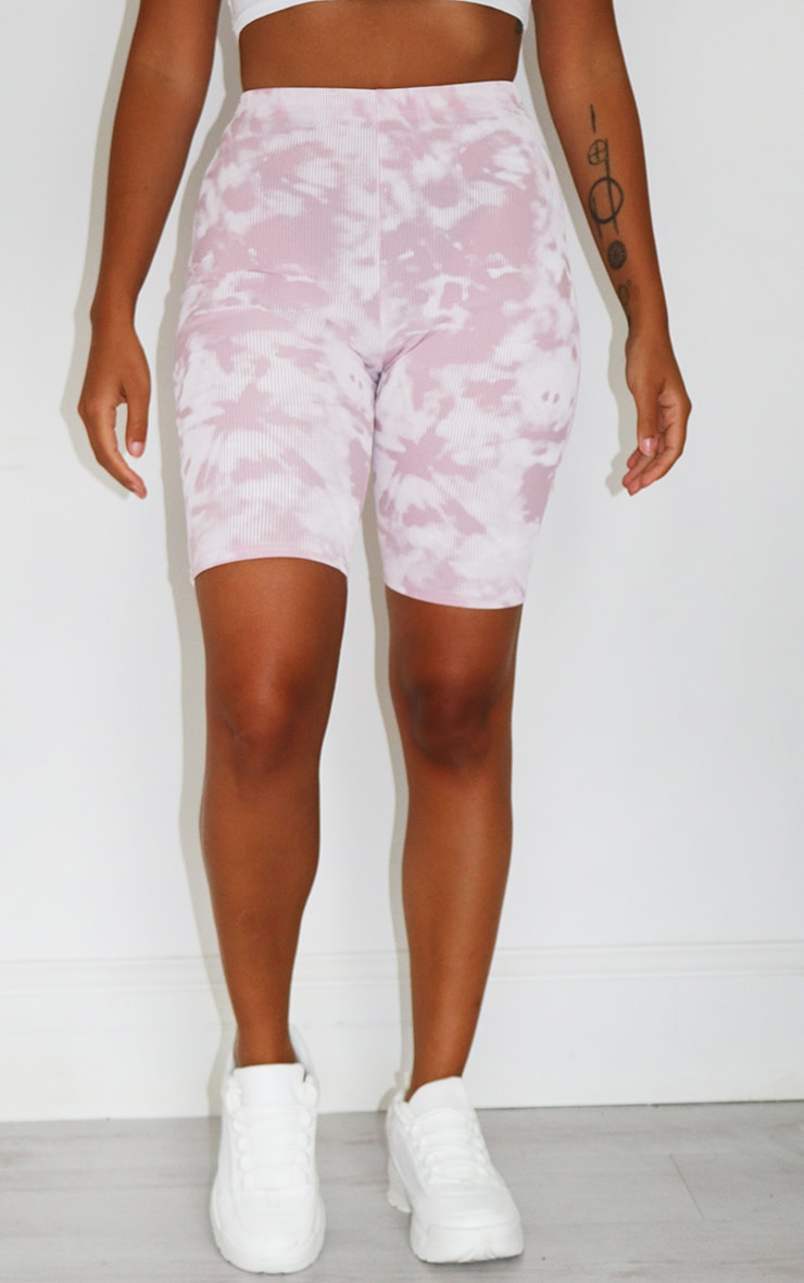 Petite Lilac Tie Dye Ribbed Cycle Short 2